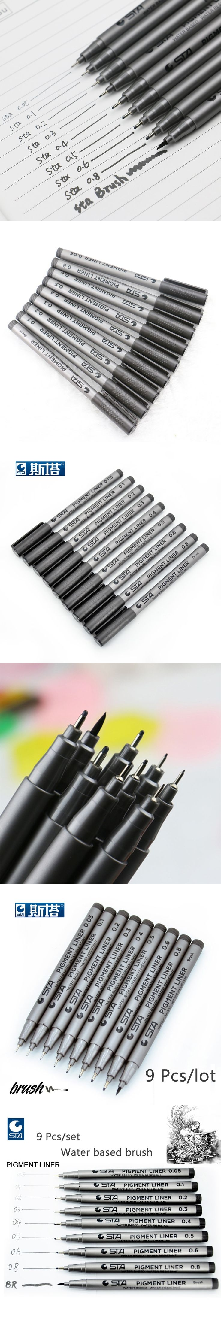 STA9pcs/set Sketch Art Marker Pen Different Tip Sizes Black Pigment Liner Water Based For Art Supplies Stationery