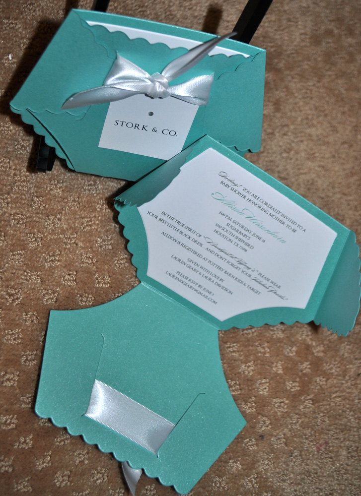 Baby Shower Invitation: Breakfast at Tiffanys Diaper Baby Shower Invitation. $2.50, via Etsy.