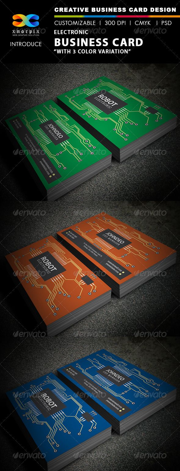 Electronic Business Card  — PSD Template #electronic #print ready #business card…