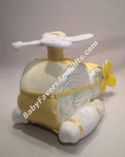 Bolo de fralda helicóptero - helicopter diaper cake