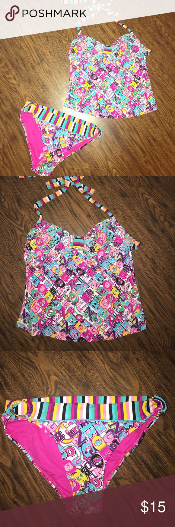 Bingo Tankini 2 Pc Halter style swim suit. Hot pink, blue, green, purple, pink and yellow and white. Letters and stripes prints. So cute. Brand new with tags. BONGO Swim Bikinis
