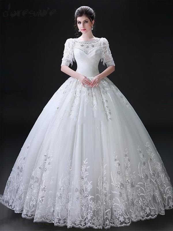 2016新品 双肩 高級刺繍 綺麗目ロングドレス 結婚式ドレス 花嫁ドレス ウェディングドレス