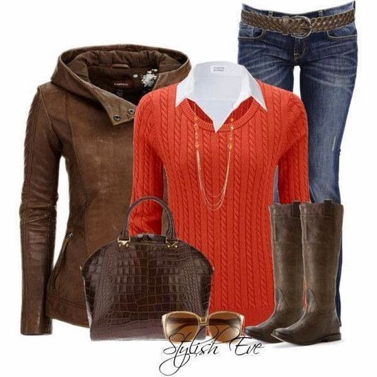 Adorable Brown Jacket, White Shirt, Orange Sweater, Jeans, Handbag And Long Boots For Fall