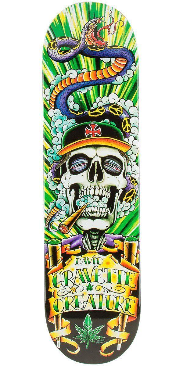 """Creature Gravette Hippy Skull 4 Skateboard Deck - 8.26"""". David Gravette is going to make one stoney skeleton."""