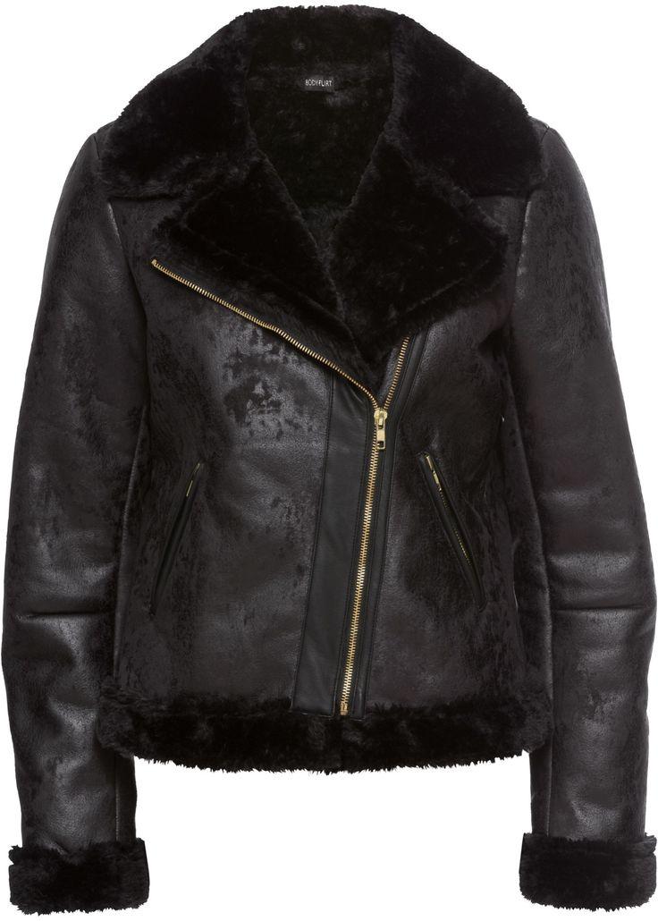 Lederimitat-Jacke, die Dich warm hält und total im Trend ist.