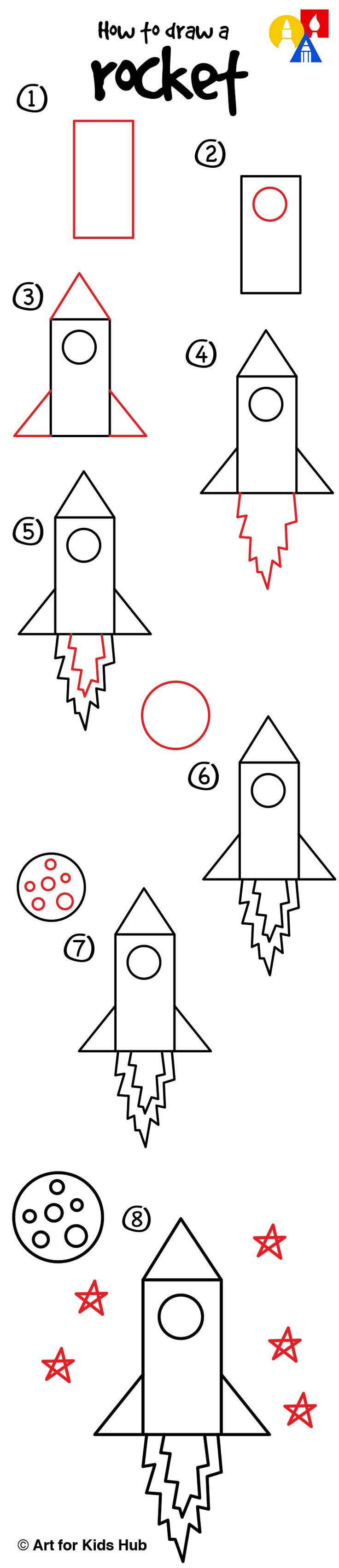 how to draw a rocket ship step by step