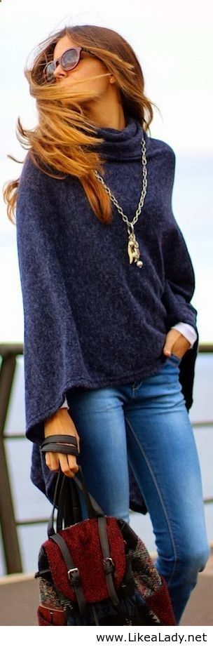 Style fashion clothing women outfit sweater necklace blue jeans handbag sunglasses autumn casual street