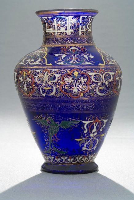 Mamluk enamelled glass vase , syria 1275-1300