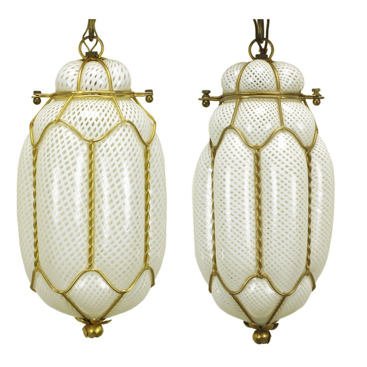 Pair White Murano Latticino Glass & Gilt Metal Pendant Lights | From a unique collection of antique and modern chandeliers and pendants  at http://www.1stdibs.com/furniture/lighting/chandeliers-pendant-lights/