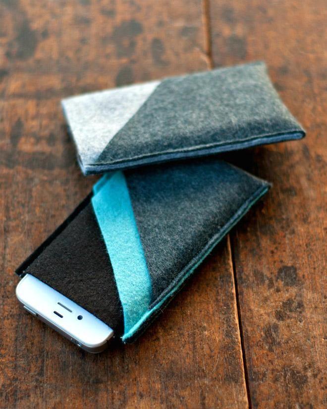 DIY iphone cases. http://www.poppytalk.com/2012/12/diy-wool-felt-iphone-sleeves.html
