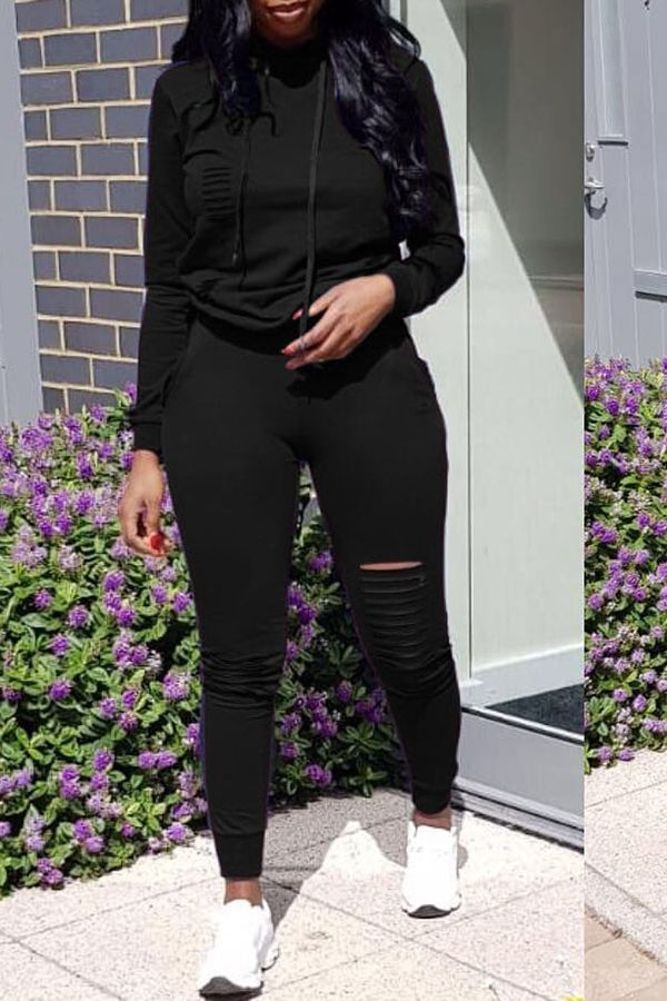 a02570eabba Lovely Casual Hooded Collar Broken Holes Black Blending Two-piece Pants Set