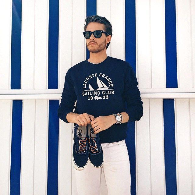 Lacoste crew neck | Club Monaco shorts | Vans | iamgalla.com