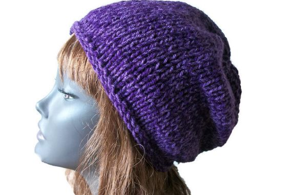 Purple Beanie Hat, Chunky - Hand Knitted