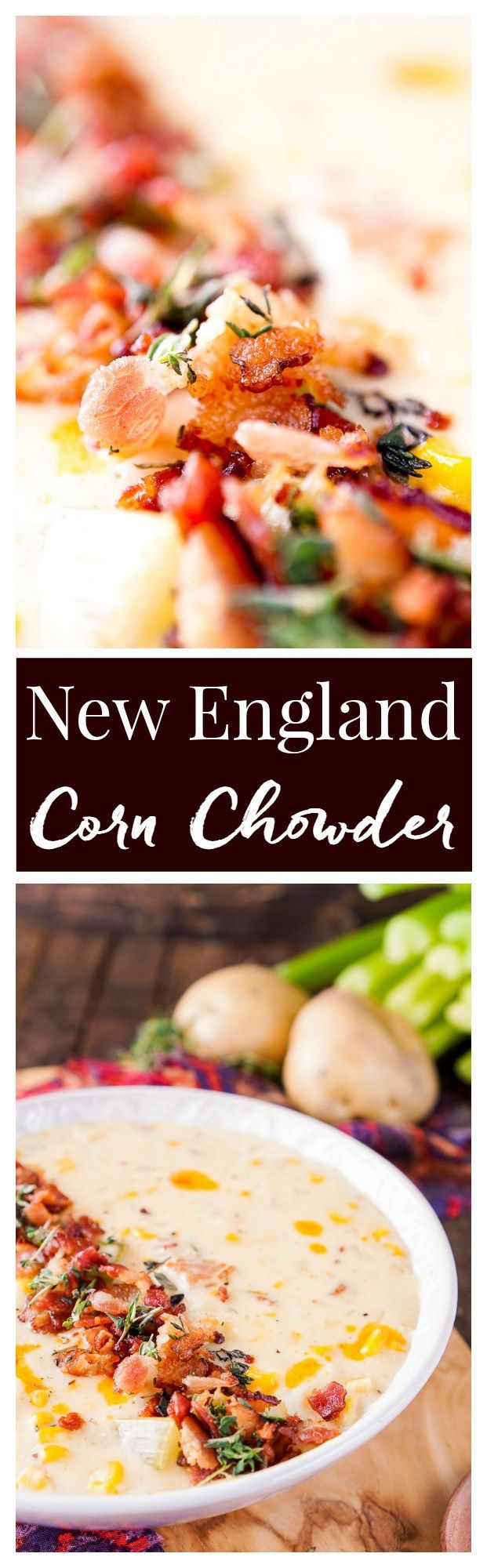 This New England Corn Chowder with Bacon is a slightly spicy adaptation from the down-home classic! Everything you'd expect from the tradition dish with a helping of bacon and a kick of Tabasco!