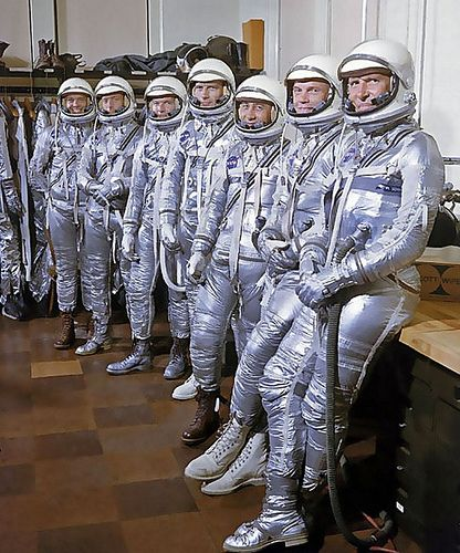 Project Mercury astronauts in their pressurized suits