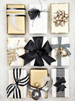 Wrap gifts with black and white fabric ribbons in bold stripes or patterns or choose metallic gold ribbon for a chic and elegant look.