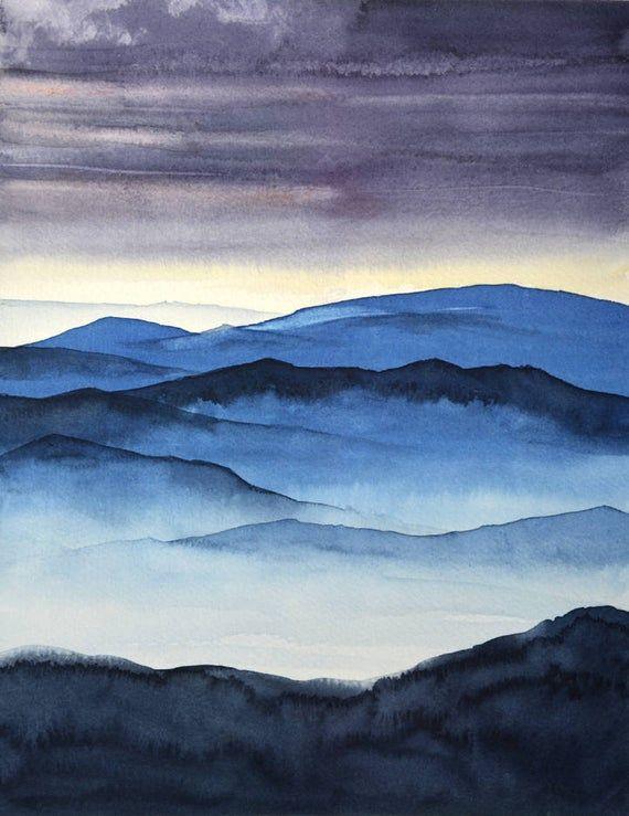 Sundown Art Watercolor Print Sunset Landscape Masculine Decor Giclee Picture Blue Ridge Mountains Night Painting Dramatic Artwork Landscape Prints Sunset Landscape Night Painting