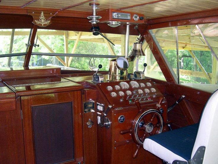 1958 Chris Craft helm area and decking-shown below as restored.