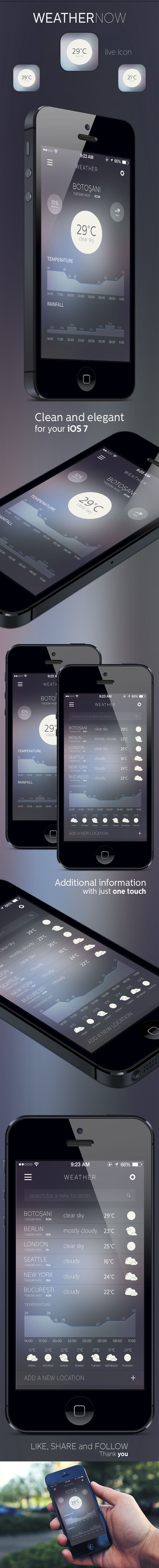 WEATHER NOW by Alexandru Stoica, via Behance. For more details visit http://mobilewebmds.com/mobile-apps/