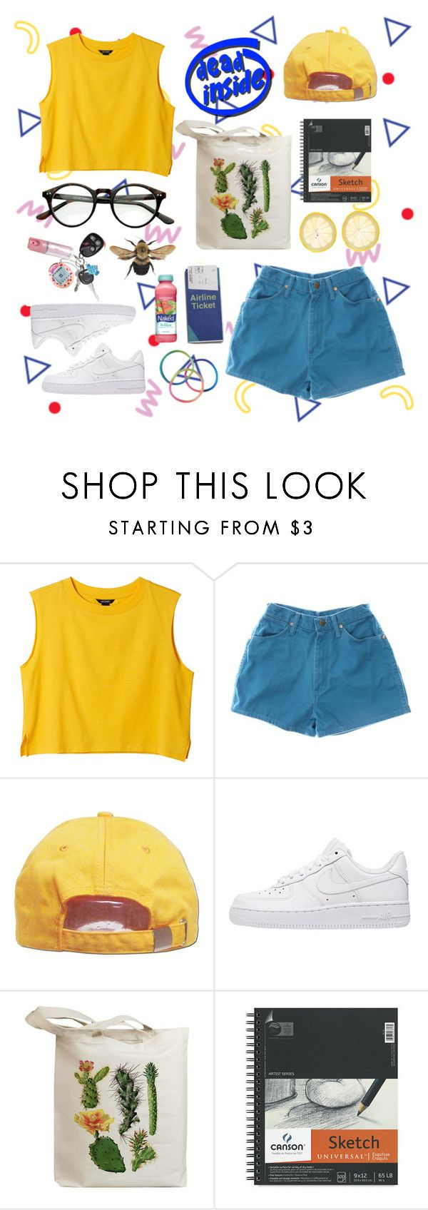"""Peculiar Little Art Hoe"" by pradamuse ❤ liked on Polyvore featuring Monki, Wrangler, NIKE, Retrò and Mangosteen"
