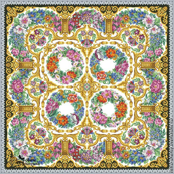 Купить или заказать Схема вышивки 'Цветочный ковер' в интернет-магазине на Ярмарке Мастеров. Авторская реконструкция старинной схемы для вышивания крестом по старинному, раскрашенному вручную бумажному шаблону. Издательство A. Nicolai 1831-1858 гг. К схеме прилагается ключ в цветовой палитре ниток DMC, а также возможные размеры готовой вышивки на 14, 16, 18 и 25 канве. Схема в электронном виде, в формате PDF. Можно заказать цветной или черно-белый вариант схемы по вашему желанию, или ...