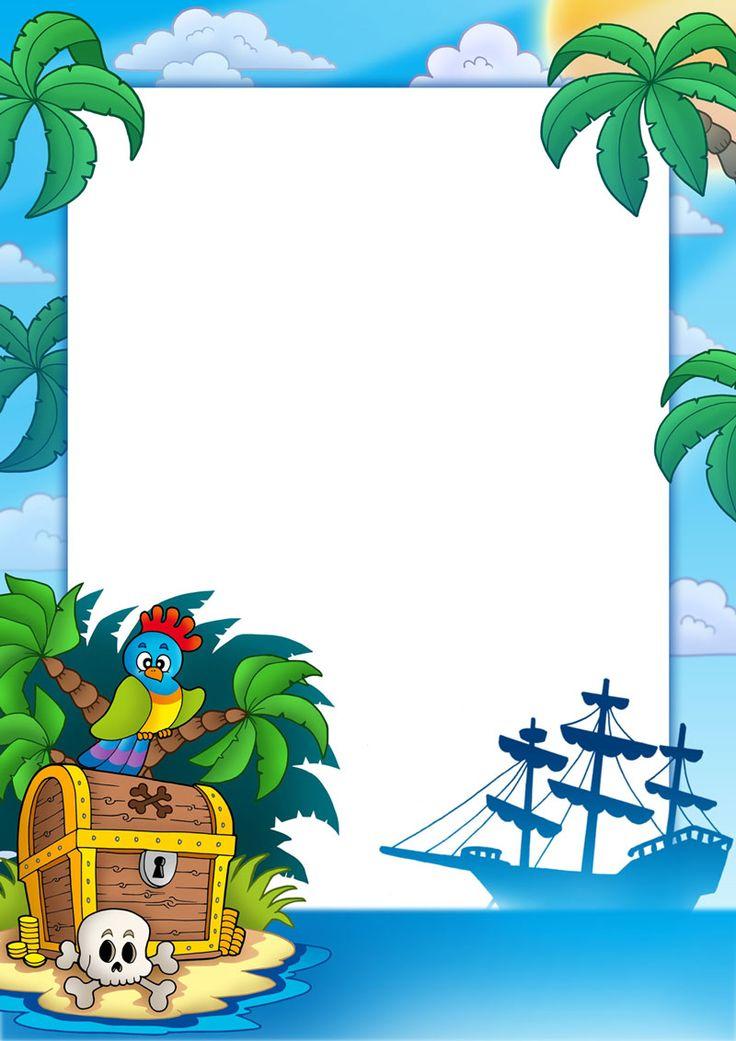 Forziere pirata con pappagallo e nave, scrivibile