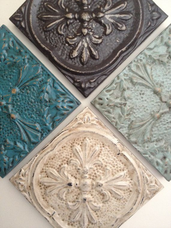 Architectural salvaged distressed cream tin ceiling tile on Etsy, $25.00