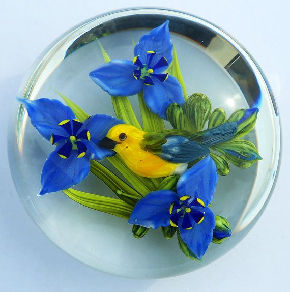 Rick Ayotte Glass Paperweight Yellow Prothonotary Warbler Signed 3 5/8 in LE 50 1988 Collectible Limited Edition