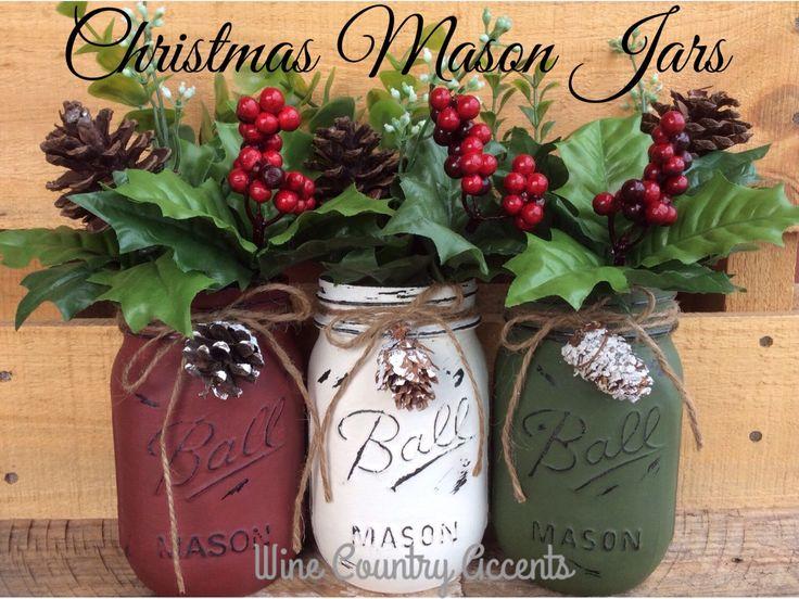 Painted Mason Jars. Christmas Decor. Vase. Home Decor. Holiday Decor. Rustic Decor. Christmas Jars. Gifts. by WineCountryAccents on Etsy https://www.etsy.com/listing/252579700/painted-mason-jars-christmas-decor-vase