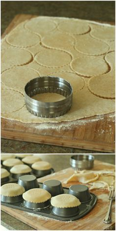 Mini Tart Shells by BakingAMoment.com {good technique for flaky crust and perfect idea if you don't have mini tart pans}                                                                                                                                                                                 More
