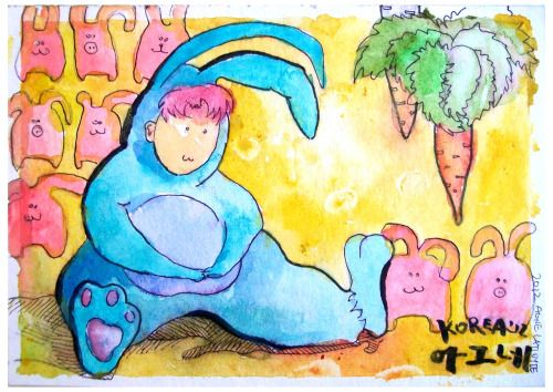 3 pig-rabbits; 1 boy-rabbit; 5 just-rabbits.