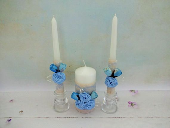 Blue Unity Candles Set Blue Wedding Candles Blue Rustic