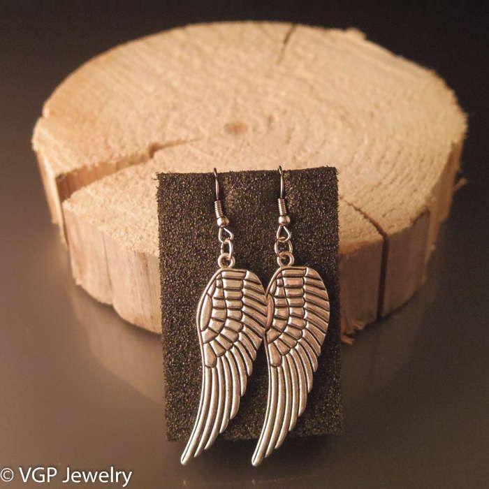 Sierlijke Vleugel Oorbellen: zilver