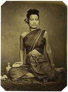 Khmer lady in late 1800s clothing in Sabai  (Khmer: ស្បៃ; Thai: สไบ)