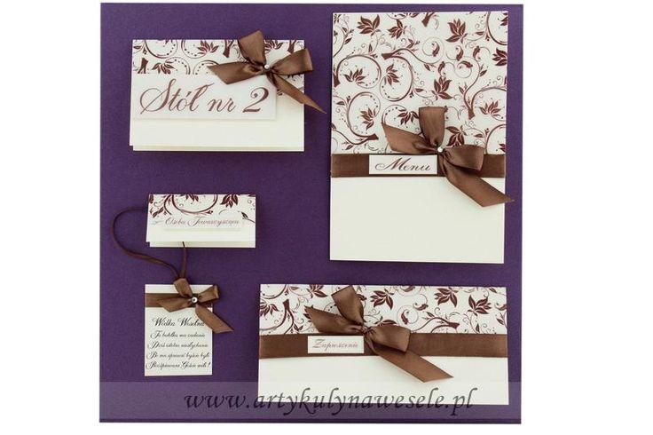 Menu weselne z brązowymi dodatkami - wzór 12 Wedding Shop - sklep z artykułami weselnymi, artykuły na wesele