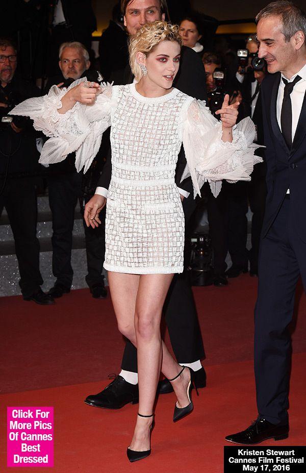 Kristen Stewart White Dress April 2017