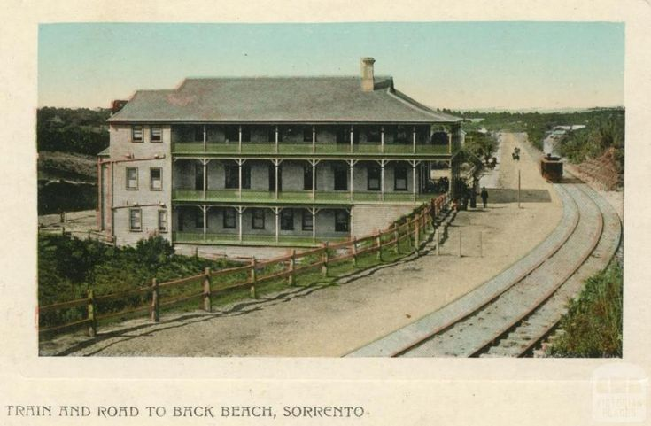 Train and road to Back Beach, Sorrento, 1909