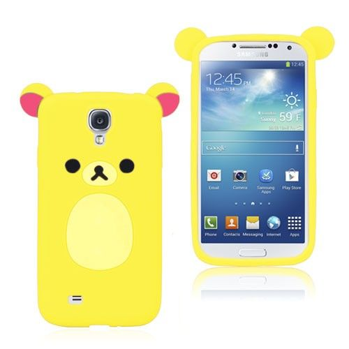 Cute Bear (Gul) Samsung Galaxy S4 Deksel