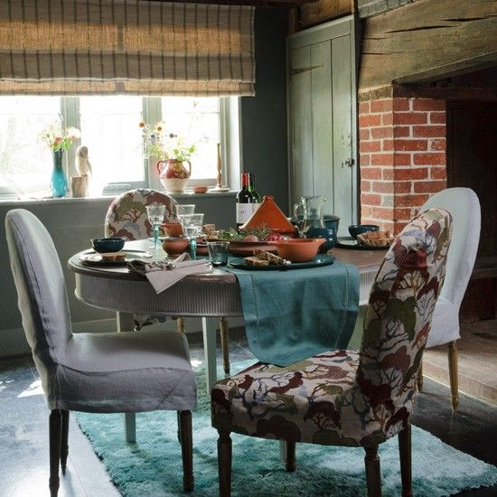 Rustic dining room (patterned chair fabric: Lowveld from Hertex at Henry Bertrand)