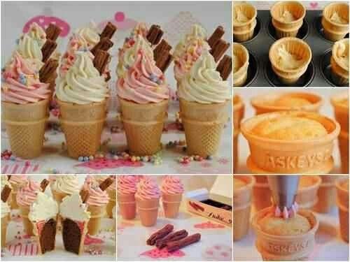 Muffin nel cono del gelato.