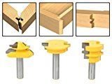 AccOED New Jointing Router Bit Set -Lock Miter/Glue Joint/ Drawer Front 3pcs router bits for wood/milling tools/wood milling cutter