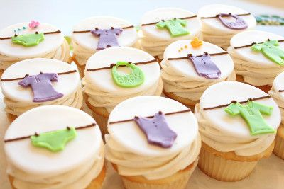 baby clothes cupcakes cute idea to use with bigger clothesline cake