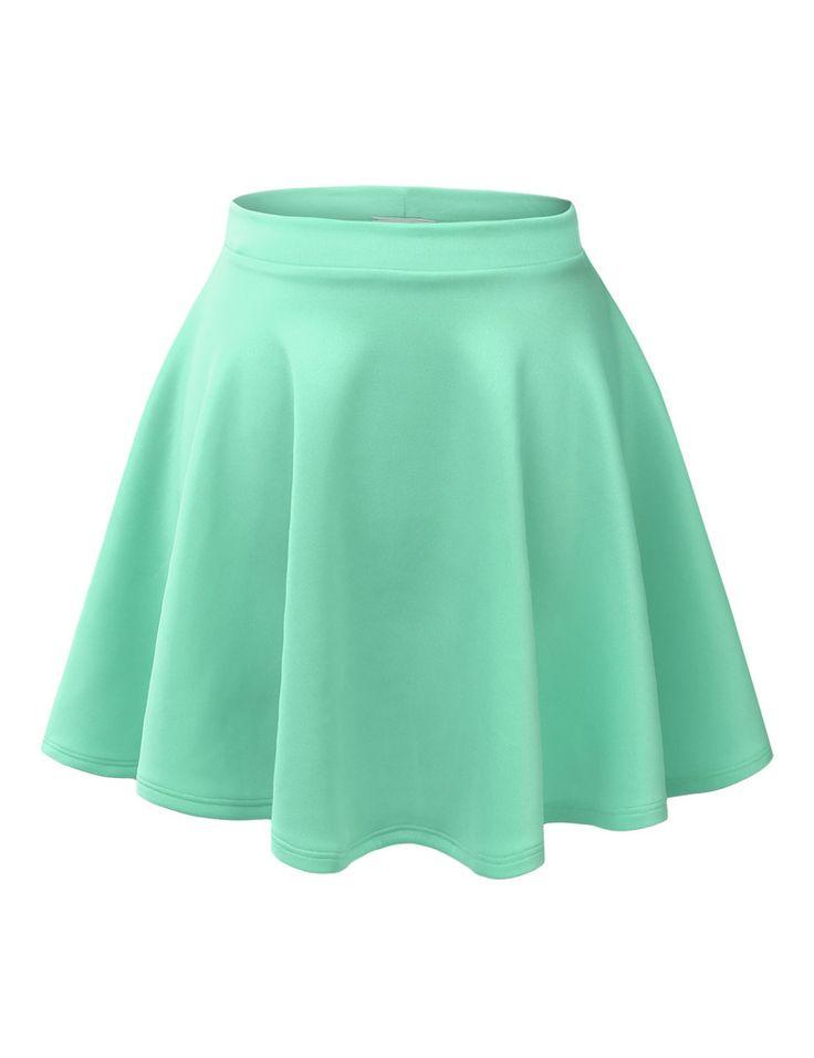 LE3NO Womens Basic Versatile Stretchy Flared Skater Skirt