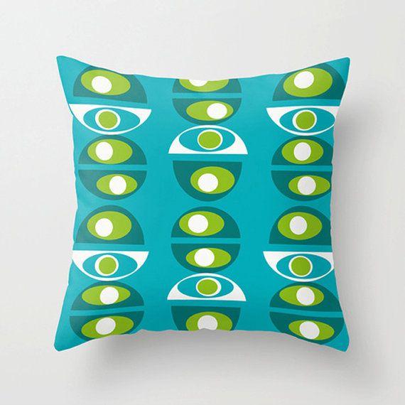 Modern Outdoor Pillow, Outdoor Pillow, Cool Outdoor Pillow, Turquoise Outdoor Pillow, Geometric ...
