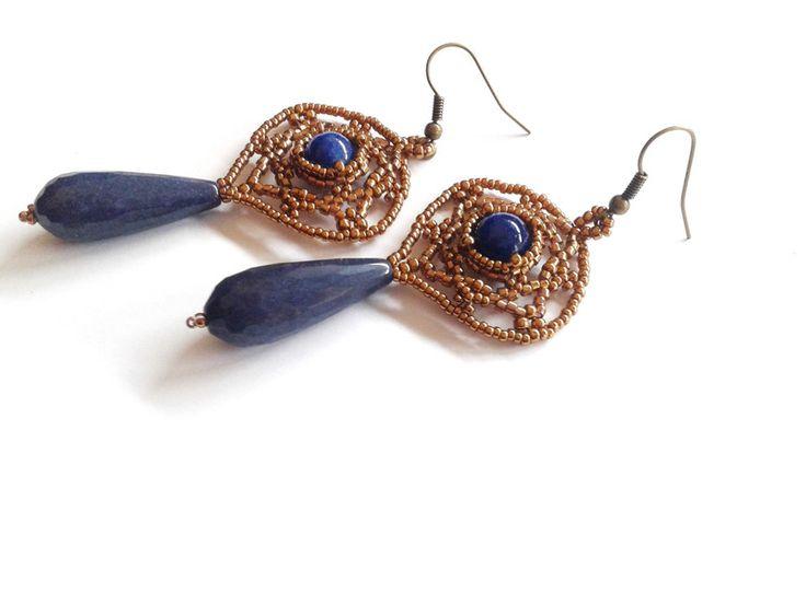 Jade - blaue Jade Tropfenohrringe - ein Designerstück von tizianat bei DaWanda
