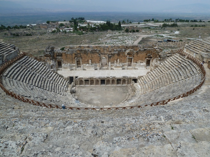 Hierapolis Theatre, Turkey. The famous Pamukkale travertines are nearby.