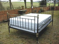 We have a wide range of mattresses and bases that we keep in stock all of our mattresses are hand crafted. The bespoke bases are 4 inches(10 cm) deep and can be either interior sprung or firm. They fold in the centre for ease of transportation. Four blocks at the corners retain the base against the side rails of the bed(which are fitted during self-assembly). We use a traditional black and white ticking. #Victorian #beds #sussex