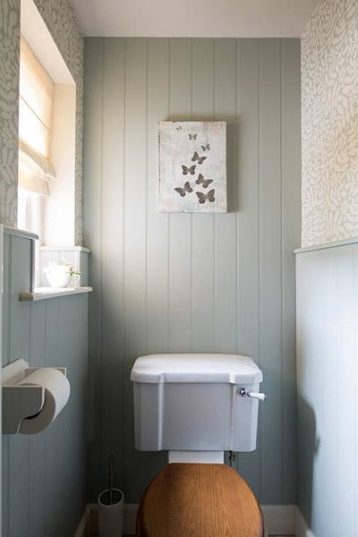 Panelling tongue and groove and country on pinterest for Small loo ideas