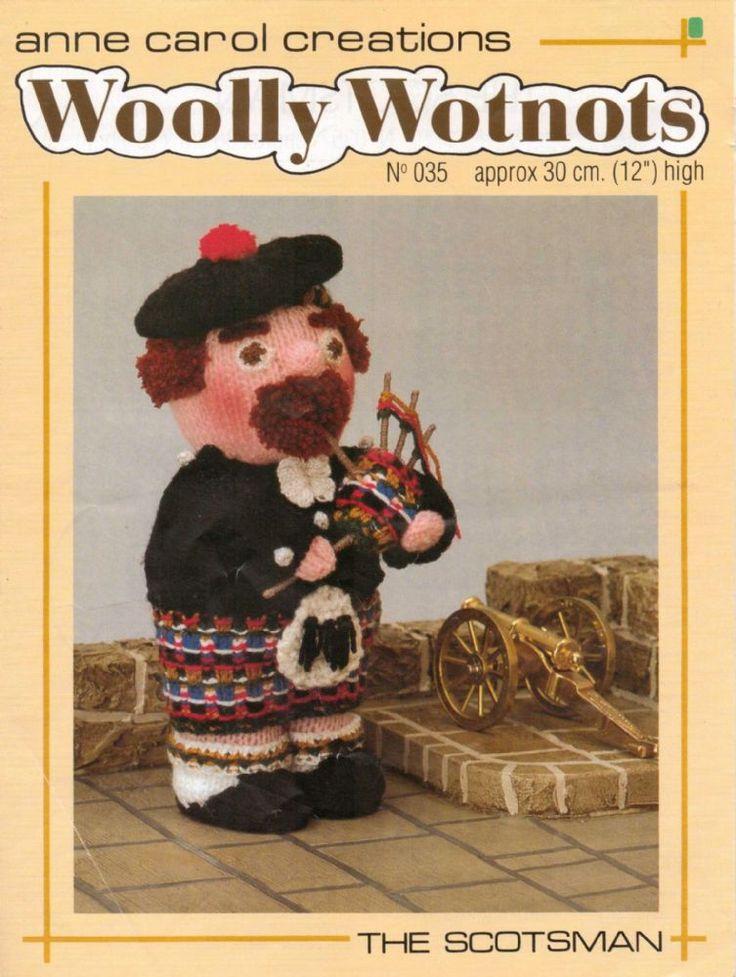 PDF Digital Vintage Woolly Wotnots Knitting Pattern The Scotsman Doll Toy 12 Double