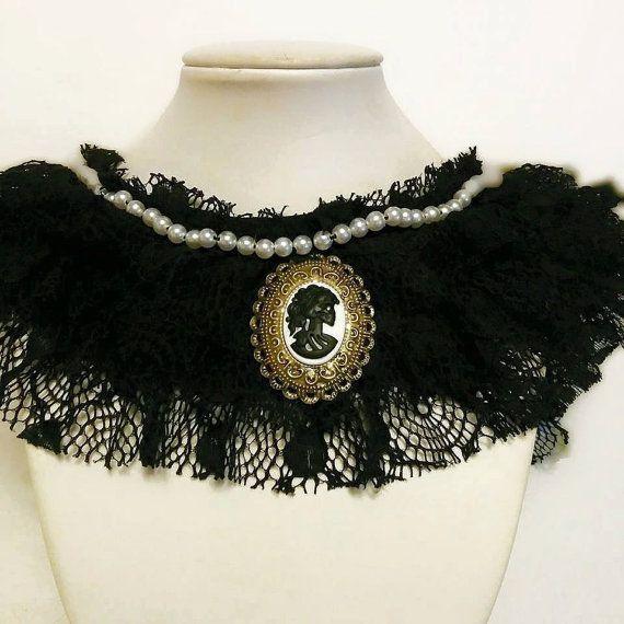 Lolita Skull Victorian black lace collar necklace  by Blackrose37
